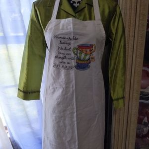 Women's full bib apron embroidered teacups